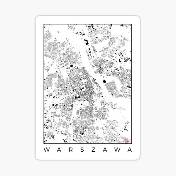 Warszawa Map Schwarzplan Only Buildings Urban Plan Sticker