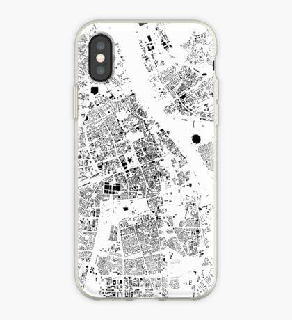 Warszawa Map Schwarzplan Only Buildings Urban Plan iPhone Case