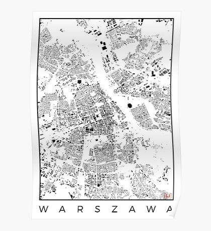 Warszawa Map Schwarzplan Only Buildings Urban Plan Poster