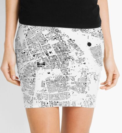 Warszawa Map Schwarzplan Only Buildings Urban Plan Mini Skirt