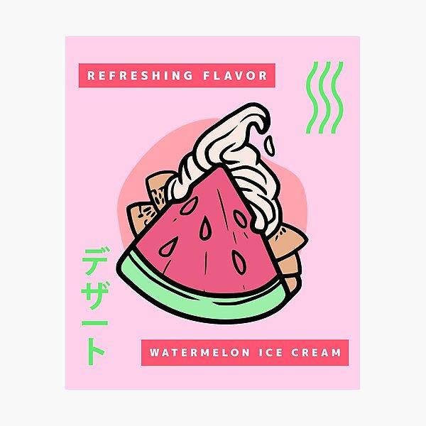 Funny Retro 90's Japanese Kawaii Refreshing Flavor Watermelon Ice Cream Photographic Print