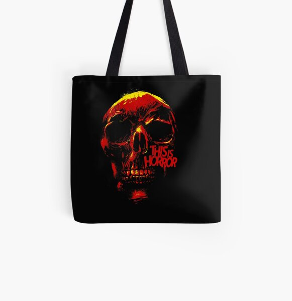 This Is Horror Classic Red on Black Skull All Over Print Tote Bag