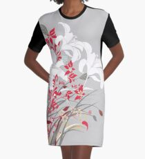 Red Flower Bunch Graphic T-Shirt Dress