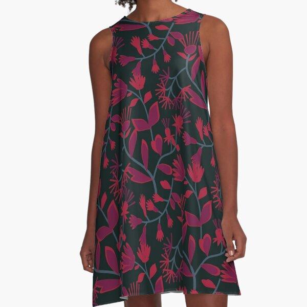 Papercut Floral Fuchsia  A-Line Dress
