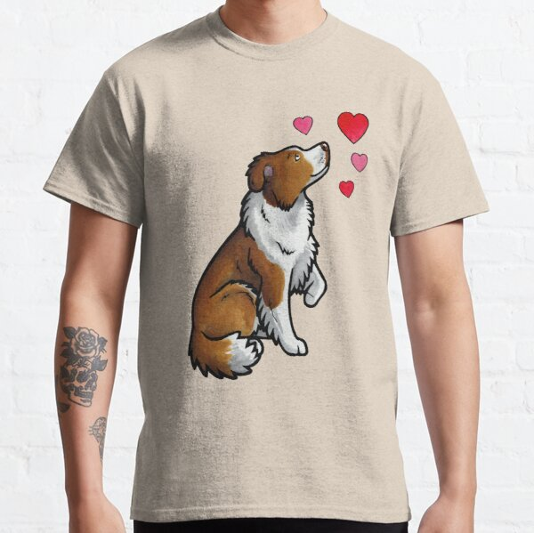 Border Collie love (red) Classic T-Shirt
