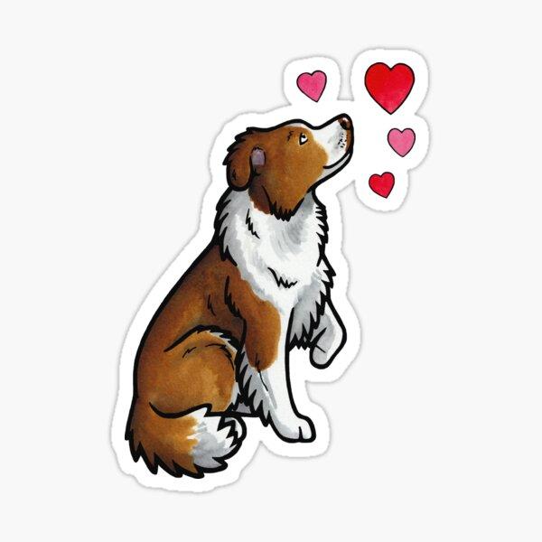Border Collie love (red) Sticker