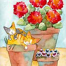 Sleeping Kittens and Geraniums by Ryan Conners