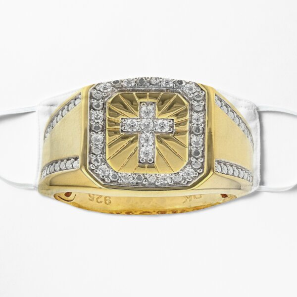 White Cubic Zirconia 18K Yellow Gold Over Sterling Silver Men's Cross Ring 0.37ctw Flat Mask