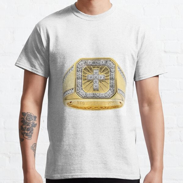 White Cubic Zirconia 18K Yellow Gold Over Sterling Silver Men's Cross Ring 0.37ctw Classic T-Shirt