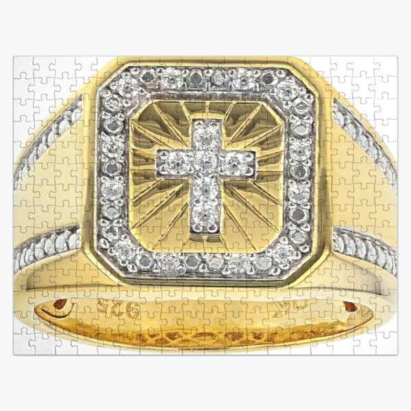 White Cubic Zirconia 18K Yellow Gold Over Sterling Silver Men's Cross Ring 0.37ctw Jigsaw Puzzle