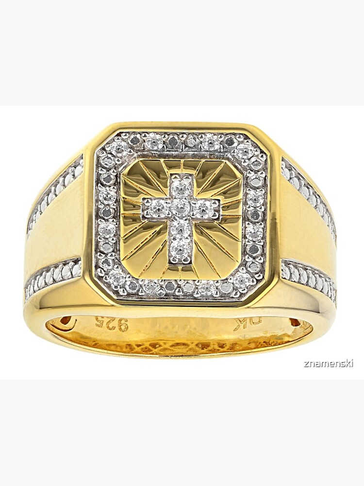 White Cubic Zirconia 18K Yellow Gold Over Sterling Silver Men's Cross Ring 0.37ctw by znamenski