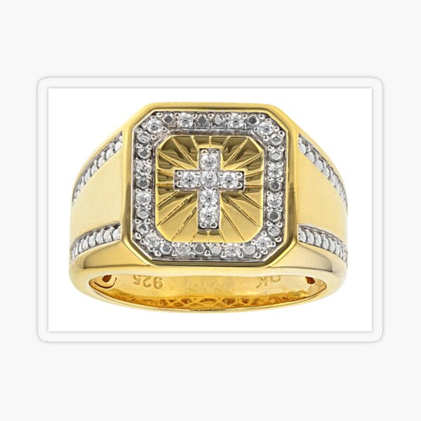 White Cubic Zirconia 18K Yellow Gold Over Sterling Silver Men's Cross Ring 0.37ctw Transparent Sticker