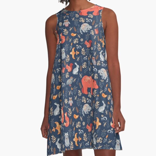 Fairy-tale forest. Fox, bear, raccoon, owls, rabbits, flowers and herbs on a blue background. Leggin A-Line Dress