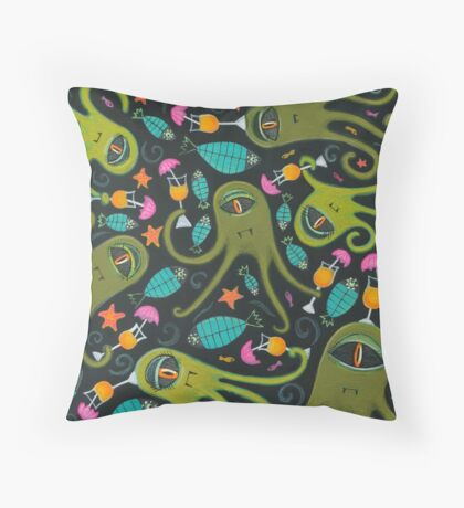 Sea Monster Party Throw Pillow