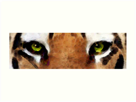 Tiger Art - Hungry Eyes by Sharon Cummings