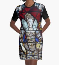 Queen Elizabeth I Stained Glass  Graphic T-Shirt Dress