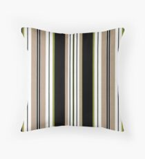 Geometric Vertical Stripes Brown, Beige White Throw Pillow