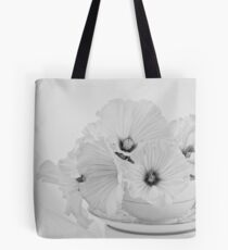 Lavatera Flowers In Tea Cup - Still Life Tote Bag