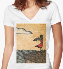 Girl by the Ocean, Antique Texture Women's Fitted V-Neck T-Shirt