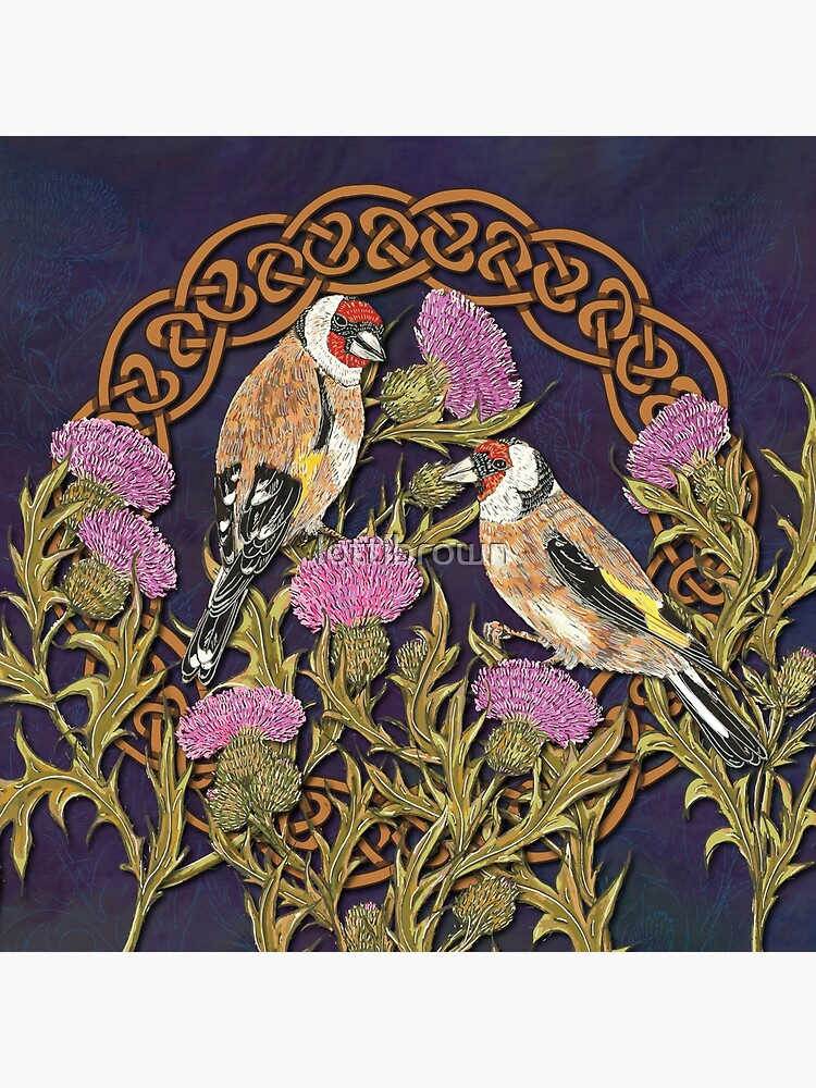 Goldfinches & Thistles Celtic Knotwork by lottibrown