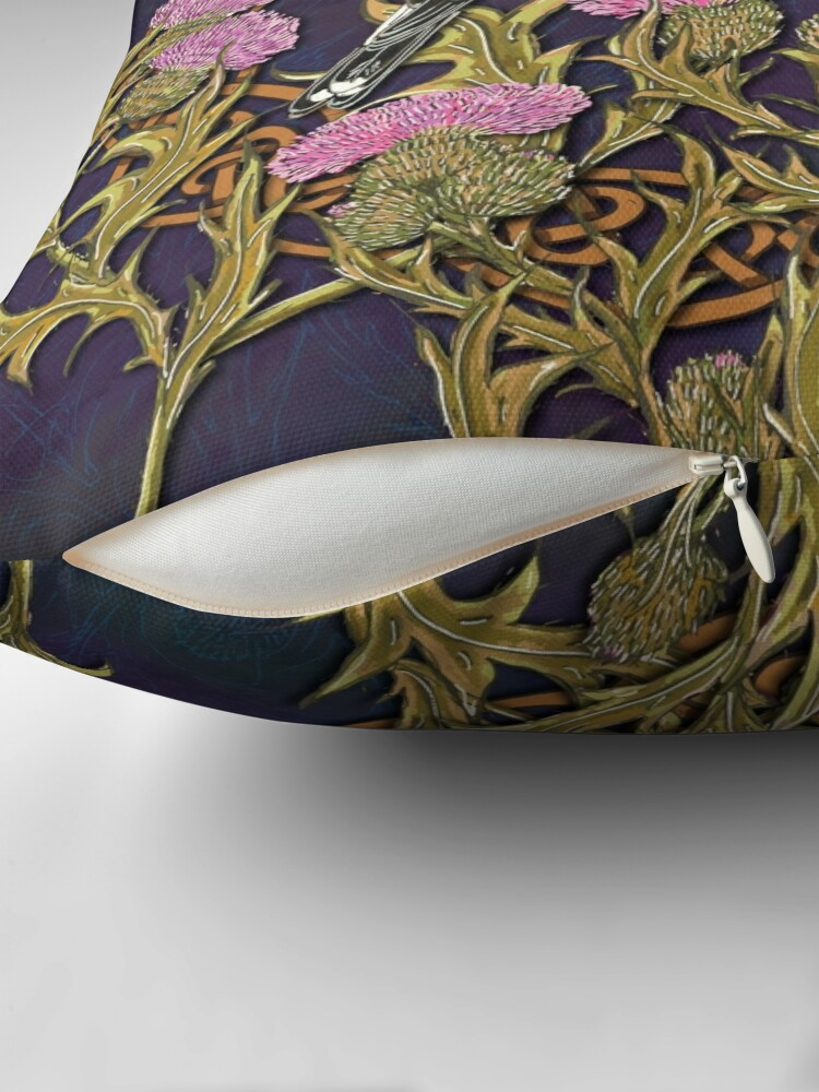 Alternate view of Goldfinches & Thistles Celtic Knotwork Throw Pillow