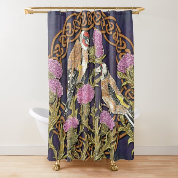 Goldfinches & Thistles Celtic Knotwork Shower Curtain