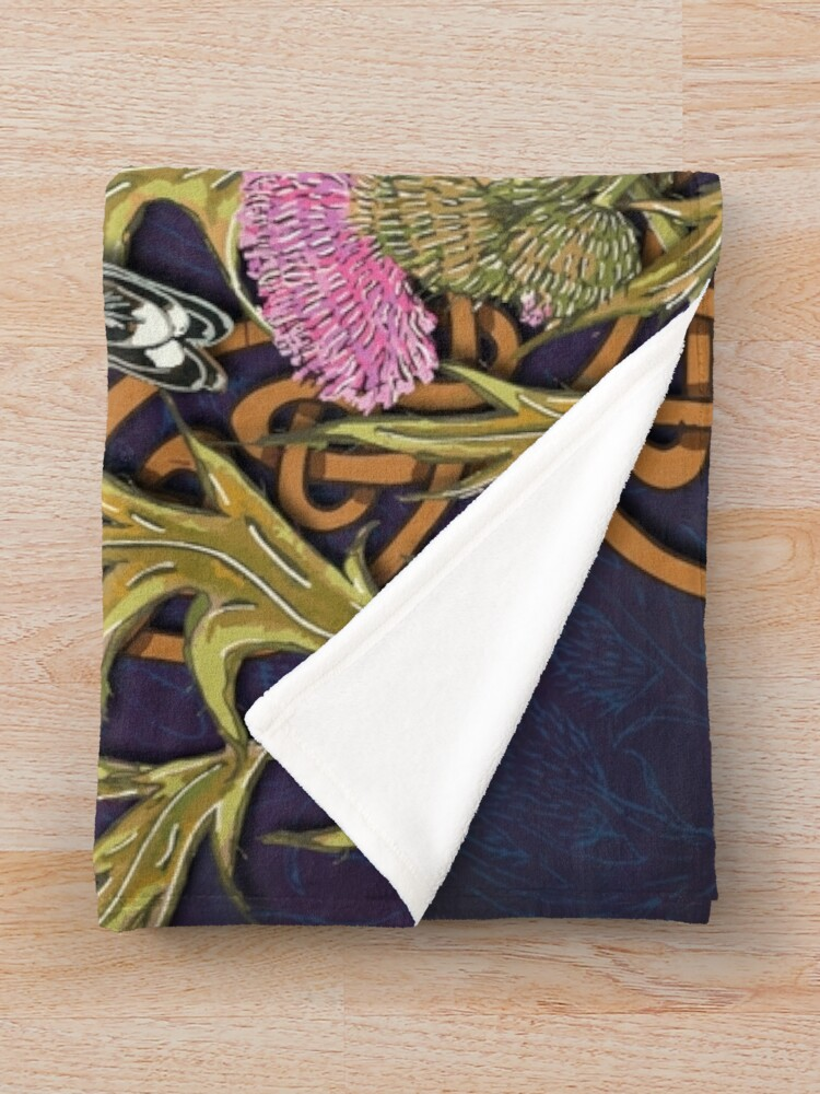 Alternate view of Goldfinches & Thistles Celtic Knotwork Throw Blanket