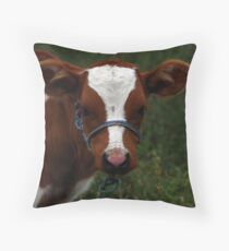 Brown and White Calf Throw Pillow