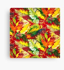 Fabric Art, Pattern, Bold Bright Colorful Leafs Canvas Print