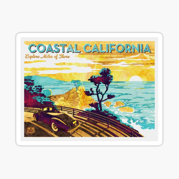 Coastal California: Explore Miles of Shore. Pacific Coast Highway Vintage Poster Watercolor Painting on Canvas Sticker