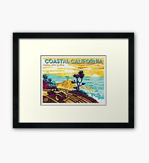 Coastal California: Explore Miles of Shore. Pacific Coast Highway Vintage Poster Watercolor Painting on Canvas Framed Print