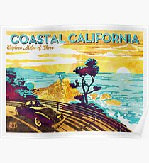 Coastal California: Explore Miles of Shore. Pacific Coast Highway Vintage Poster Watercolor Painting on Canvas Poster