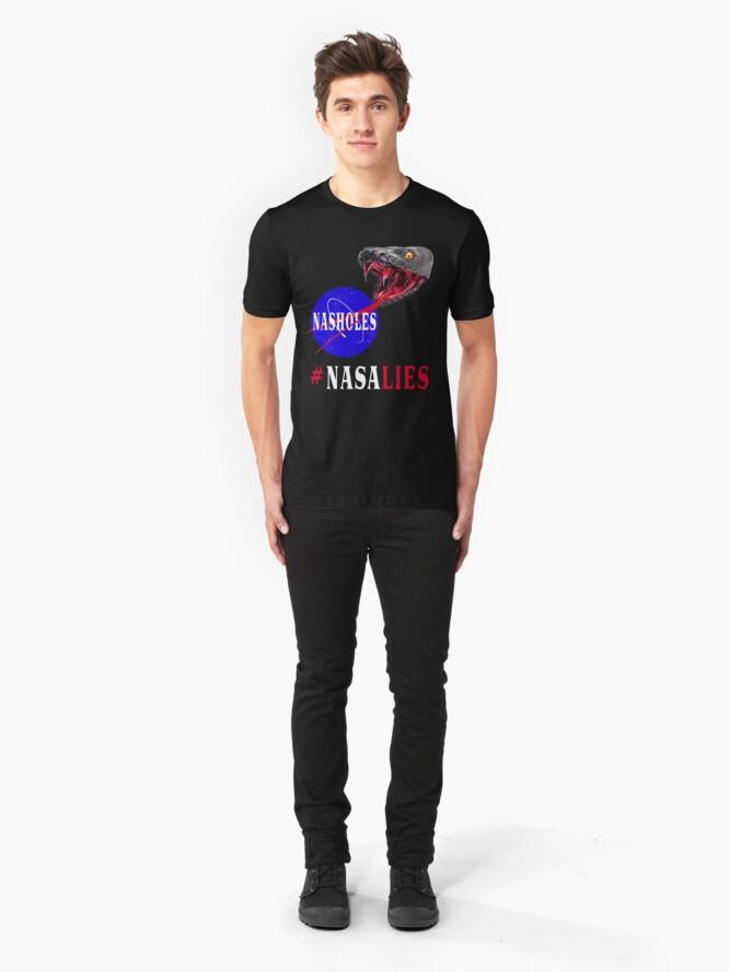 Alternate view of NASA Lies - NASHOLES  Slim Fit T-Shirt