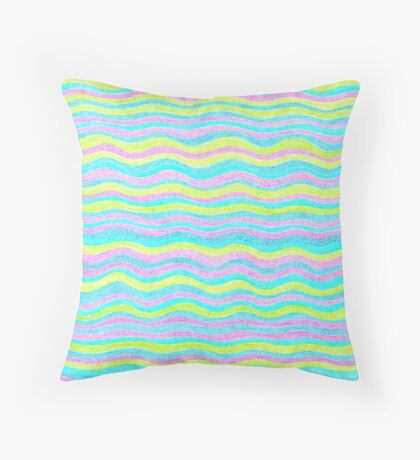 Neon Colors Hand Drawn Psychedelic Stripe Pattern  Throw Pillow