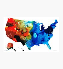 United States of America Map 4 - Colorful USA Photographic Print