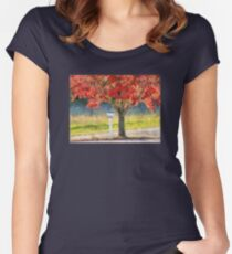 Blazing Bloody Red Dogwood By White Mailbox Women's Fitted Scoop T-Shirt