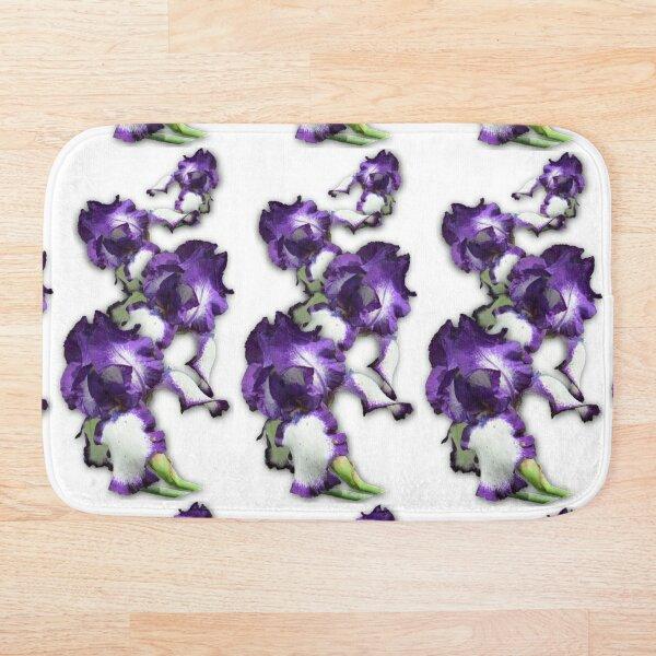 Purple and White Iris Bath Mat