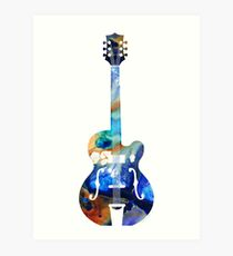 Vintage Guitar - Colorful Abstract Musical Instrument Art Print