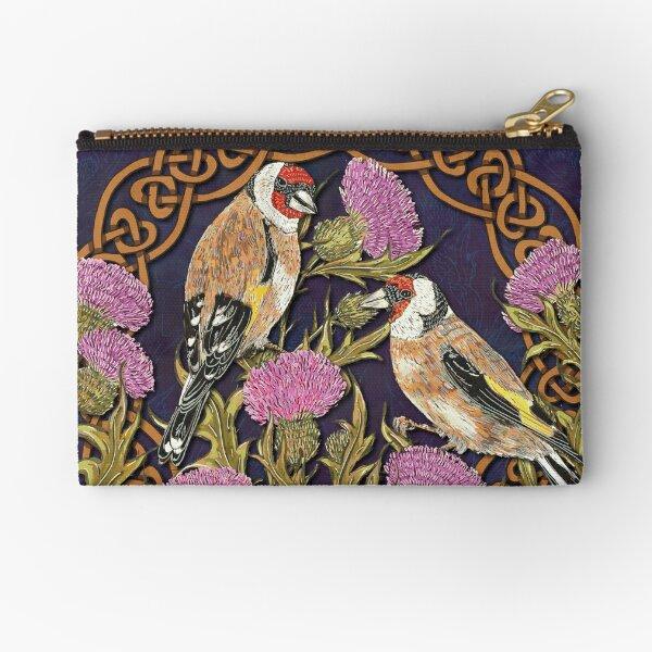 Goldfinches & Thistles Celtic Knotwork Zipper Pouch