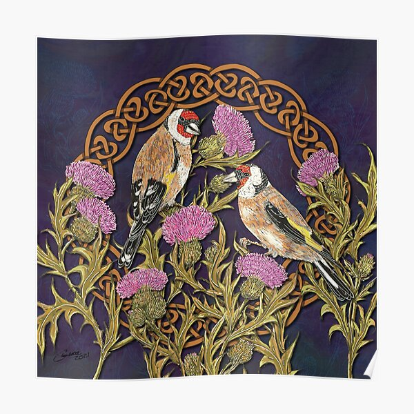 Goldfinches & Thistles Celtic Knotwork Poster