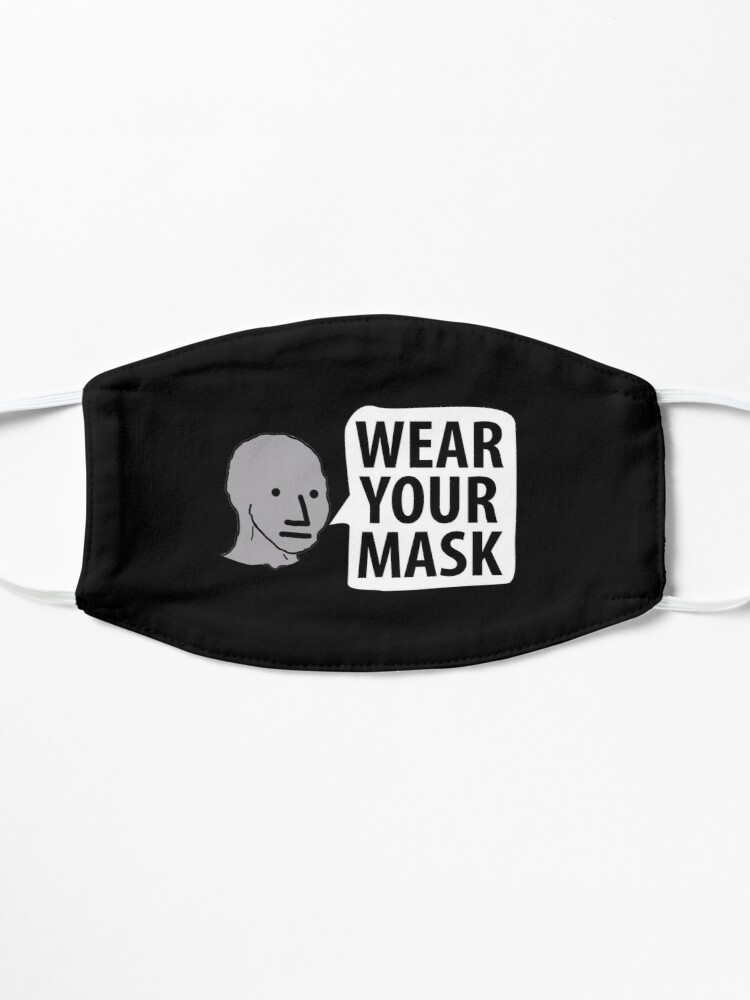 "Alternate view of NPC wojak ""Wear Your Mask"" sheep lemming Coronavirus covid anti mask covid19 Totalitarian 1984 Troll  Mask"