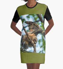 The Big Stretch_Great Horned Owlet Graphic T-Shirt Dress