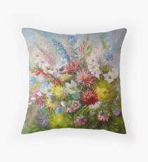 Olga Jonsson Oil Painting Flowers Throw Pillow