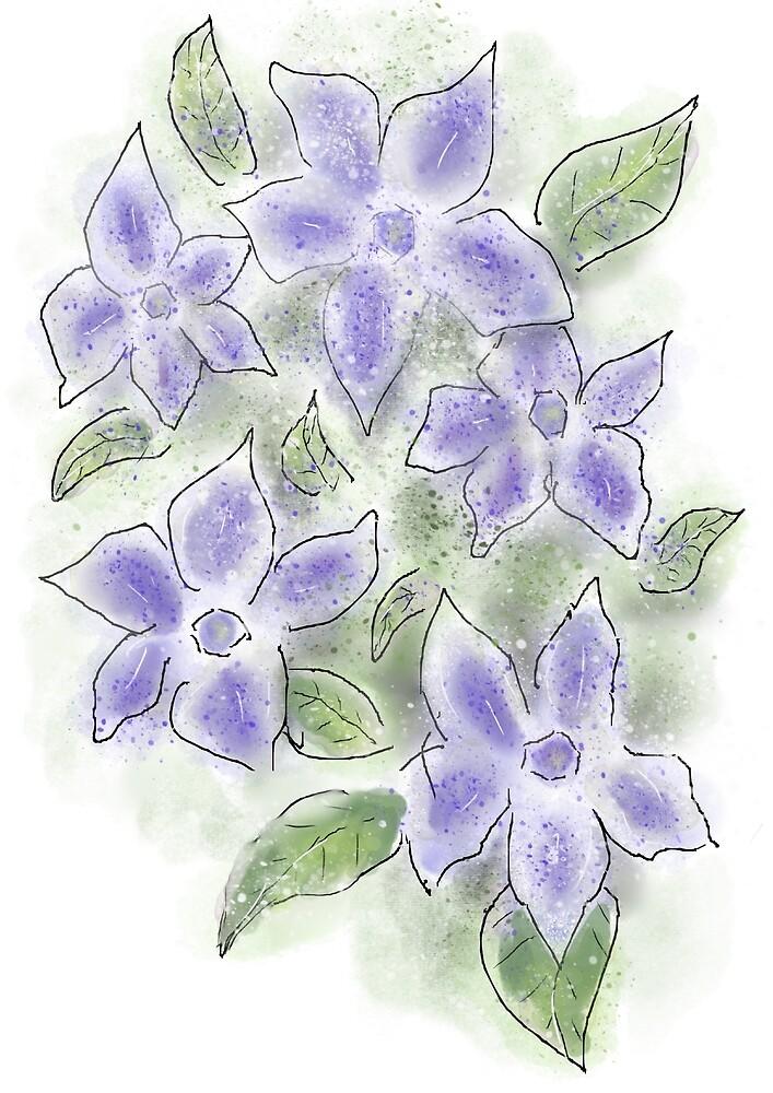 Cute Blue Periwinkle Flowers by Clare Walker