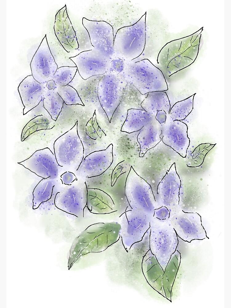 Cute Blue Periwinkle Flowers by ClareWalkerArt