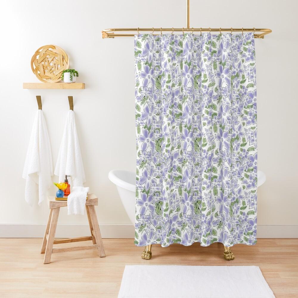 Cute Blue Periwinkle Flowers Shower Curtain