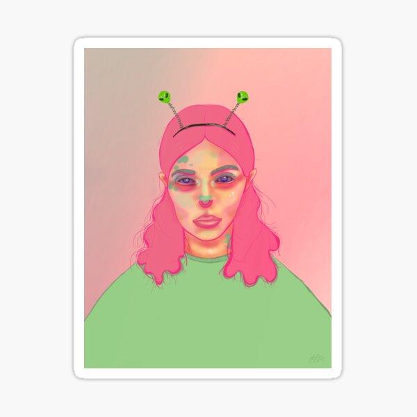 Alien Girl    Space Aesthetic, Alien Portrait, Space Girl, Outer Space, Dreamy Galaxy Girl Sticker