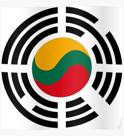 Korean Lithuanian Multinational Patriot Flag Series Poster