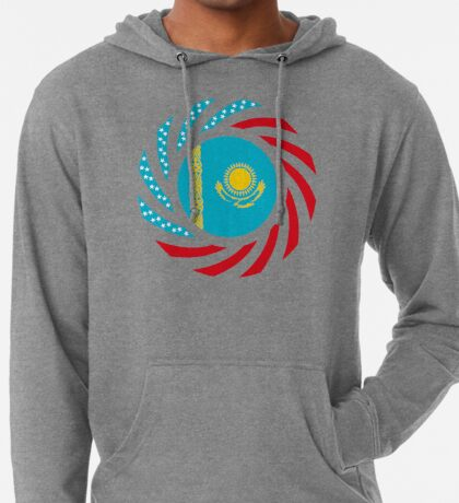 Kazakhstani American Multinational Patriot Flag Series Lightweight Hoodie