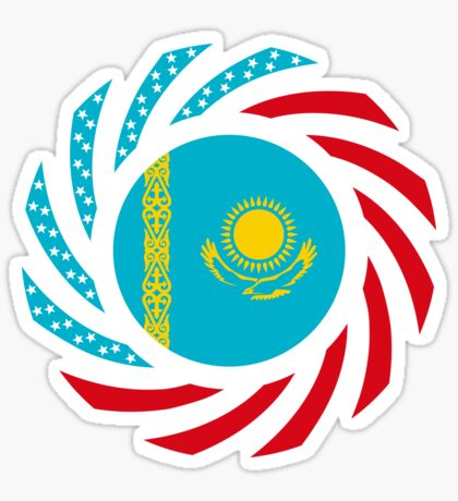 Kazakhstani American Multinational Patriot Flag Series Glossy Sticker